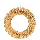 Metal wreath Ilex for hanging, D44cm, gold
